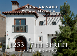 4 New Santa Monica Town Homes - Traditional California Spanish exteriors, Euro-contemporary interiors. Light and bright 2 + 2.5 homes.  White French oak wood floors, custom finishes, multiple patios, designer kitchen, vaulted second storey ceilings, walk-in master closet, sun deck, private 2-car garage, Santa Monica location.