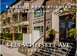 4424 Whitsett Avenue #109, Studio City - Welcome to Lumiere! Built in 2009, this two bedroom, two and a half bath residence is a unique blend of elegant sophistication and practical design which offers a spacious open floor plan with separate living and dining areas, a formal entry with a custom built bar, stone fireplace and two private terraces.  Other features include warm wood flooring, an upgraded surround sound system, custom back splashes, recessed lighting, and ample storage. The superb kitchen with granite counters, Electrolux stainless steel appliances, and Beachwood cabinets boasts an expansive bar area that opens onto the living room. The tasteful master suite encompasses a custom walk-in closet, a statuary marble bath with an oversize tub and separate glass shower, and an extremely generous terrace.  Feel stress slip away as you enter the courtyard retreat with a stone fountain and outdoor fireplace. Also enjoy the fitness center, media club room, and Zen garden, Lumiere has it all. Situated in the prime Studio City location close to fine dining, trendy hot spots, excellent shopping, and Weddington golf and tennis - the best California living has to offer.