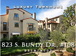 SOLD - 823 S. Bundy, Brentwood. POCKET LISTING - Not in the MLS.  Rare single family alternative:  Luxurious Brentwood townhome — a blend of colonial Spanish with modern architecture — built around an exquisite courtyard garden.  Media room; private garage; top of the line details, fixtures, and appliances.  For sale.