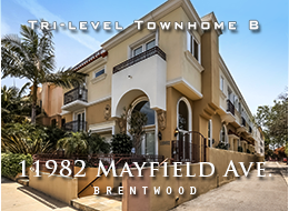SOLD:  11982 Mayfield Avenue, Brentwood, Tri-Level Townhome #8 for Sale - Pristine tri-level 3 + 2.5 towhome.  Maple floors and plantation shutters throughout.  Soaring ceilings, fireplace, gourmet kitchen with island.  Loft's enclosed balcony is an ideal gym location.  Walk-in closet and marble master bath.  Private sundeck.  Private 2-car garage.
