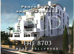 SOLD:  Sustainable living in prime West Hollywood. Panoramic city views, pewter-stained brushed oak floors, seagrass woven carpeting, Miele kitchen appliances, Bosch washer and dryer, and secure parking.  Three penthouses, four townhomes.
