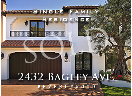 SOLD:  Exquisite Beverlywood Spanish with classic architectural exterior and fusion of classic and nouveau interior finishes.  Vaulted, 20-plus foot ceilings, distressed woods, stone floors, custom cabinets and doors.  Opulent master suite + four additional bedroom suites.