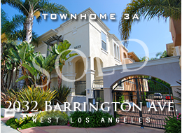 SOLD:  West LA Mediterranean multi-level 3 bedroom + den, 3 bath townhome.  High ceilings, crown moldings, wood floors, fireplace, dining room, private patio, stainless steel appliances, spacious master suite that includes dual walk-in closets and a skylight in the bathroom.