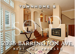 West LA Mediterranean multi-level 3 bedroom, den, 3 bathroom townhome.  Private 2 car garage with direct access.  High ceilings, crown moldings, wood floors, fireplace, dining room, private patio, spacious master suite with 2 walk-in closets.  For sale.