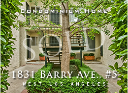 SOLD:  Quiet home hidden in the heart of West LA featuring 2 spacious bedrooms with generous closet spaces, slate master bath, hardwood floors in living and dining rooms, new carpeting in other rooms, plus  a wet bar.  Well maintained building.  Tandem 2 car parking.  Exceptional value.
