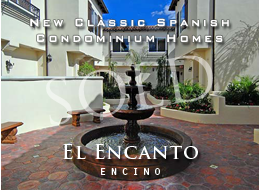 SOLD:  Classic Spanish architecture with finely finished walls, colorful quality tilework, handsome ironwork and other detailing.  Sophistication and class within each of the 23 newly-constructed 2 and 3 bedroom homes.  Open floor plans.  Well-located in prime Encino.