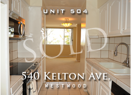 SOLD:  Westwood Village 2 bedroom, 2 1/2 bathroom condominium home with an open floor plan, updated stainless steel appliances, new paint, new bathroom floors, and fantastic closet space.  Building includes a pool and yard.  In the heart of Westwood Village.