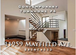 SOLD - 11959 Mayfield Avenue, Brentwood.  STUNNING CONTEMPORARY TOWNHOME IN THE HEART OF BRENTWOOD. Soaring ceilings & floods of light makes this 2 bedroom, 2.5 bath & loft a must see. Newly remodeled w/new rich hardwood oak floors, cozy sitting area w/firepl in living, formal dining & new kitchen w/modern cabinets, eating area, stainless appliances, quartz counters w/tile backsplash. Huge loft makes an ideal office. Master suite boasts high ceilings, 2 walk in closets, bath w/double sink vanity, step up soaking tub and separate shower. Side by side parking. For sale.