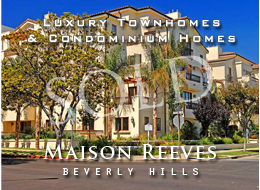 SOLD:  A new construction on one of the loveliest streets in Beverly Hills.  Luxury townhomes and condoninium homes with handsome bedroom suites, wood burning fireplaces, formal dining rooms and other luxuries.  Gymnasium + gated parking.  Prime location.