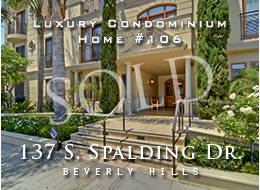 Stunning 3  bedroom home in the Golden Triangle of Beverly Hills.  Sophistication:  Whitewash oak floors, low voltage lighting, fireplace, custom privacy shutters.  Cooper Pacific kitchen with Miele and Sub Zero appliances.  Master suite has private garden patio.  Thre car parking.  For sale.