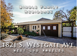 1821 S. Westgate Avenue, West Los Angeles.  Sophisticated, modern, traditional two-story 4 BD, 3 BA home.  Rich wood floors and abundant natural light make for a warm, inviting interior.  Updated kitchen.  Updated master suite with spa tub, stone shower, double floating sinks.  Newly landscaped yard.  For sale.